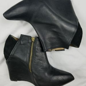 Zara basic black wedge booties pointy toe Sz 9
